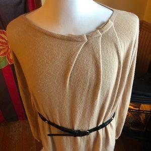 Zara Cashmere Wool Knit Sweater Dress Tunic cream